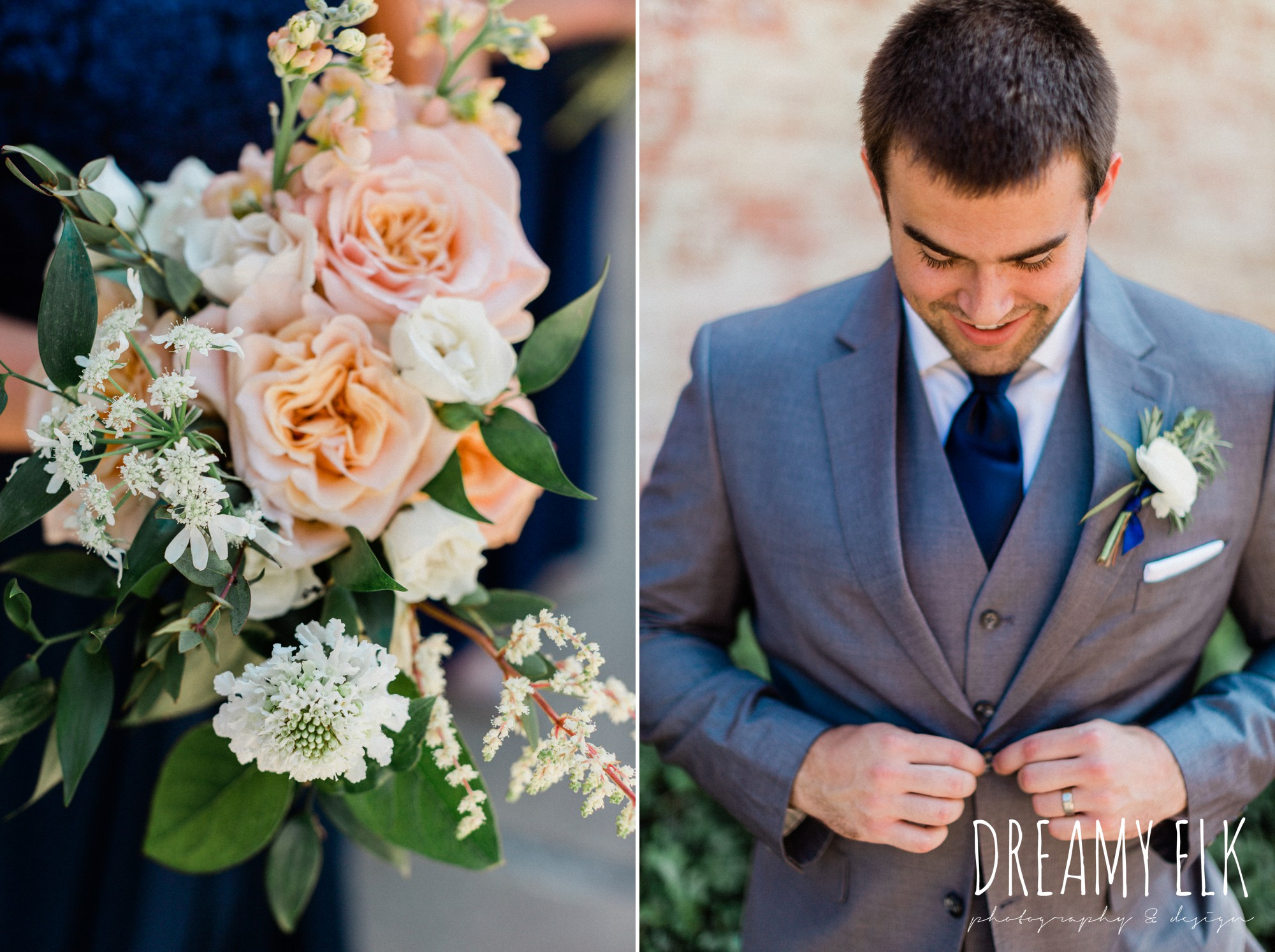 unforgettable floral, groom, gray suit navy tie, spring wedding photo college station texas, dreamy elk photography and design