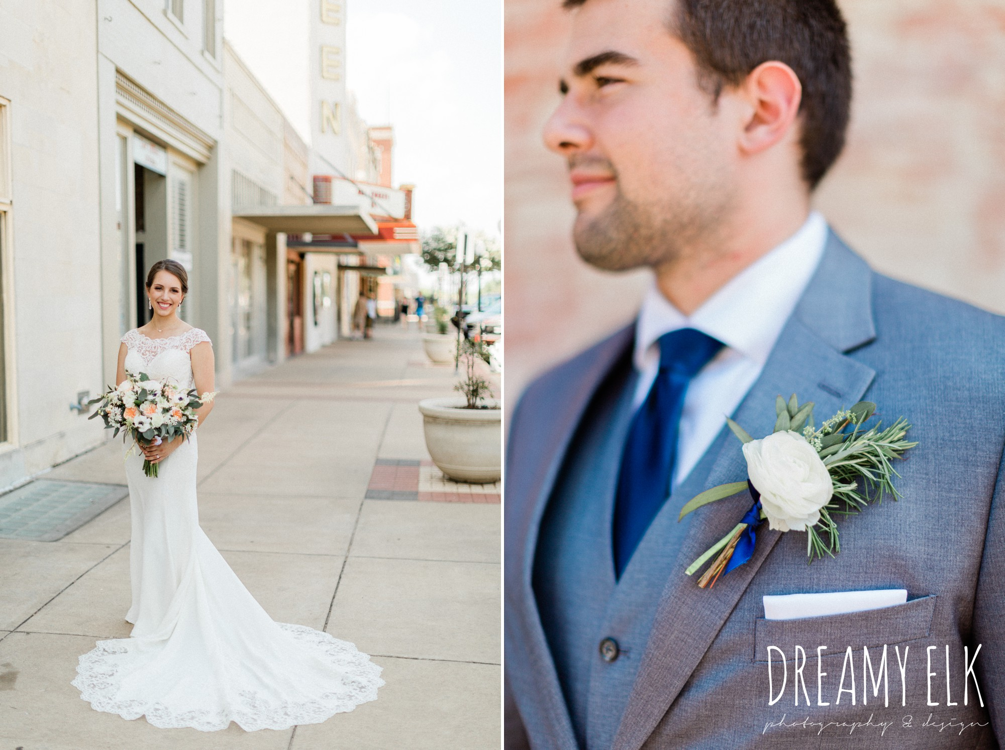 groom, gray suit navy tie, bridal, bride, essense of australia column dress, unforgettable floral, spring wedding photo college station texas, dreamy elk photography and design
