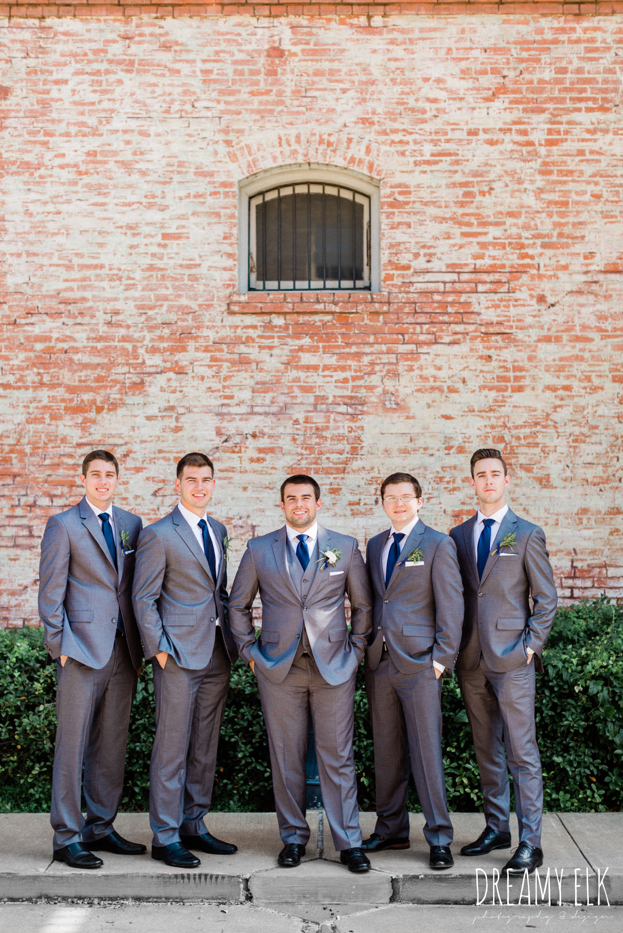 groom and groomsmen, gray suit navy tie, spring wedding photo college station texas, dreamy elk photography and design