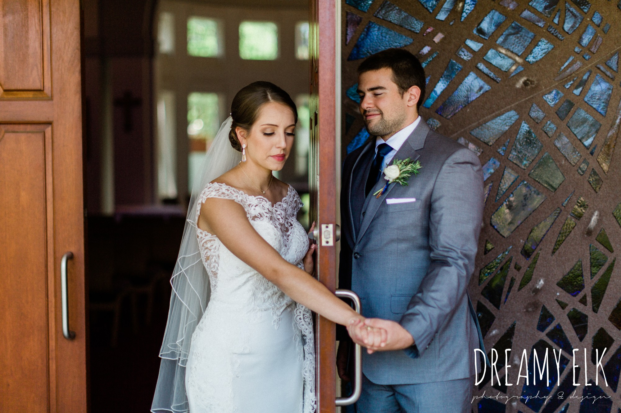 holding hands around a door, groom, bride, essense of australia column dress, unforgettable floral, spring wedding photo college station texas, dreamy elk photography and design