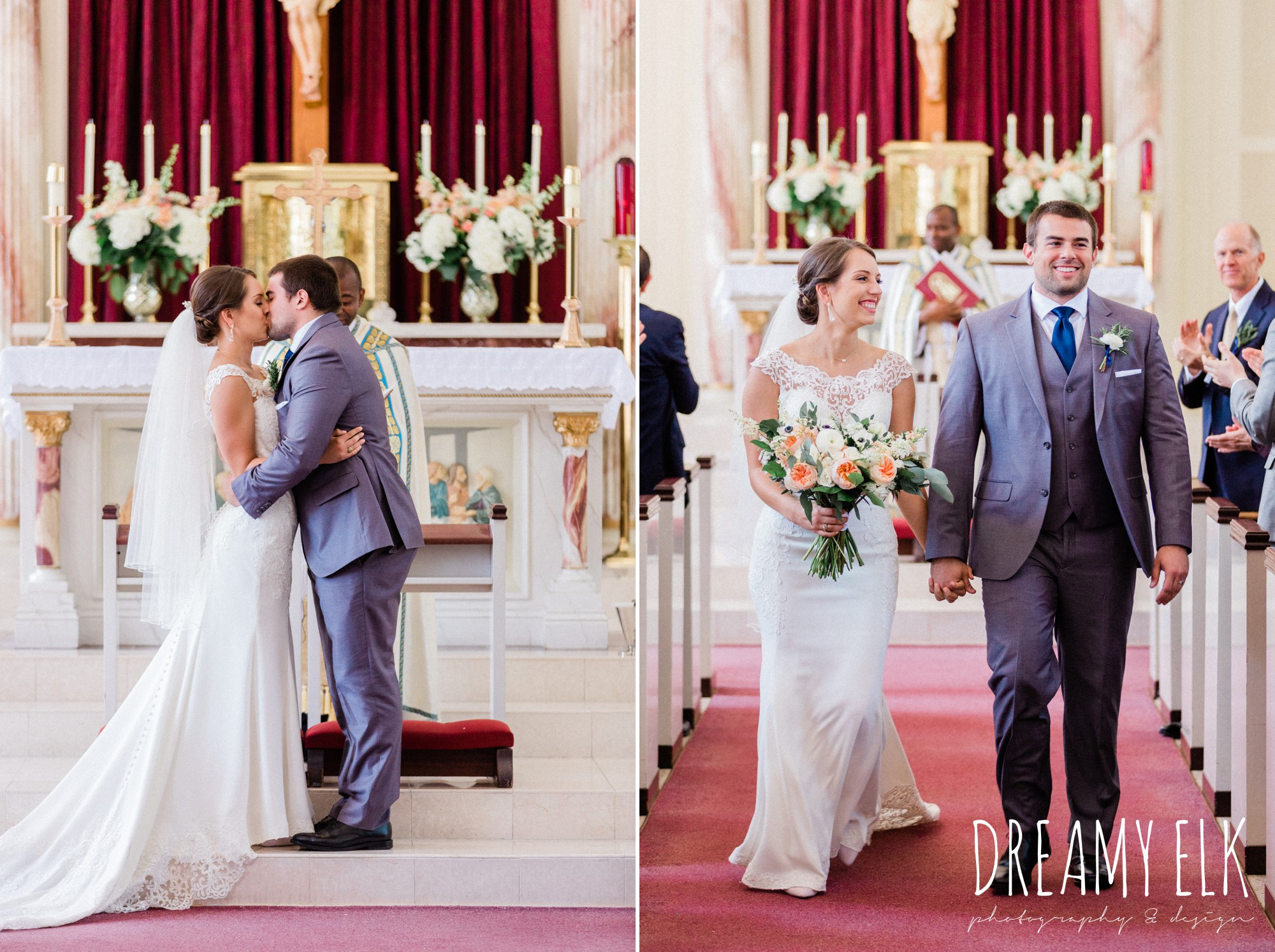 bride and groom walking down the aisle, church wedding, essense of australia column dress, unforgettable floral, spring wedding photo college station texas, dreamy elk photography and design
