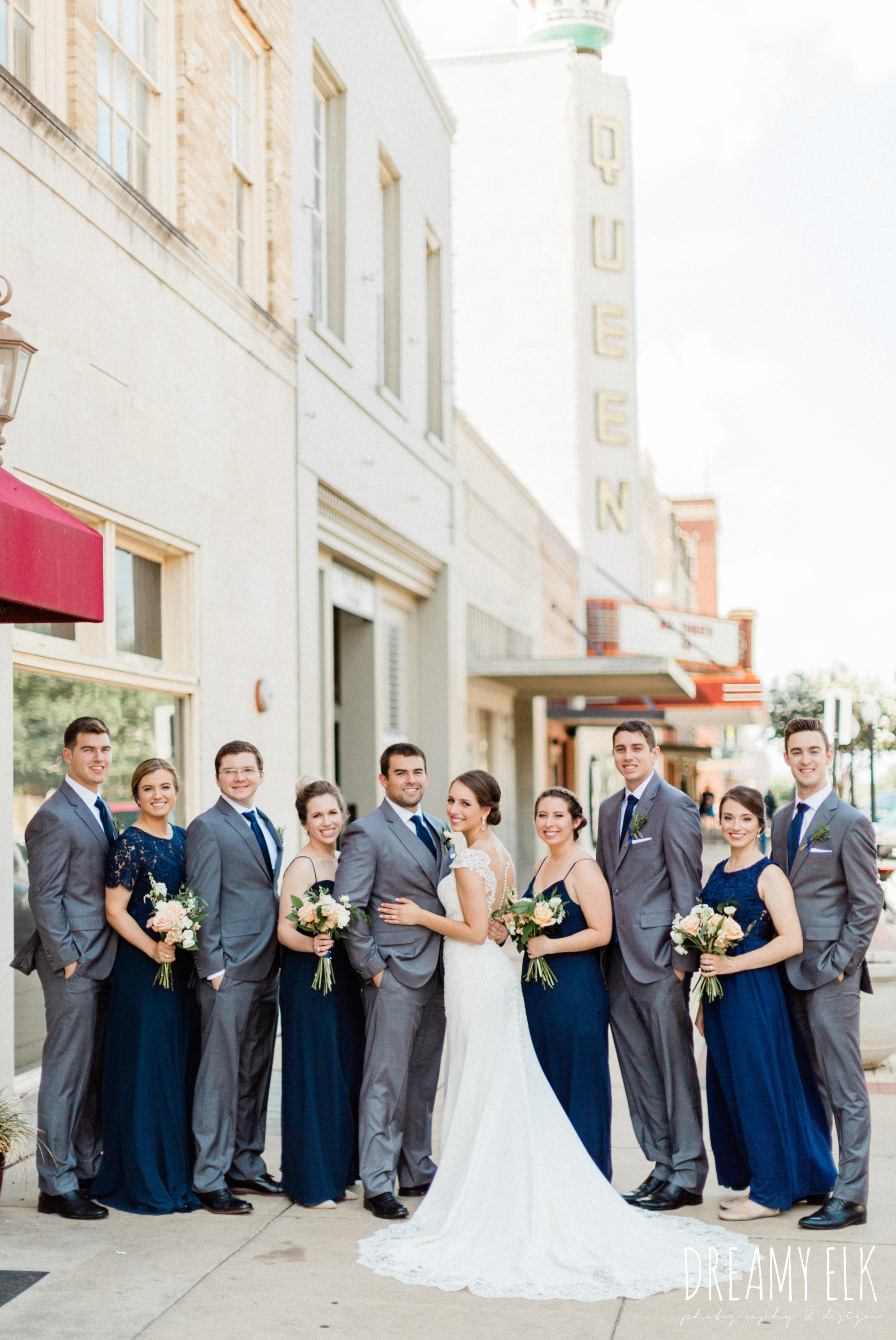 groom and groomsmen gray suit navy tie, long navy mix matched bridesmaids dresses, bride, unforgettable floral, spring wedding photo college station texas, dreamy elk photography and design