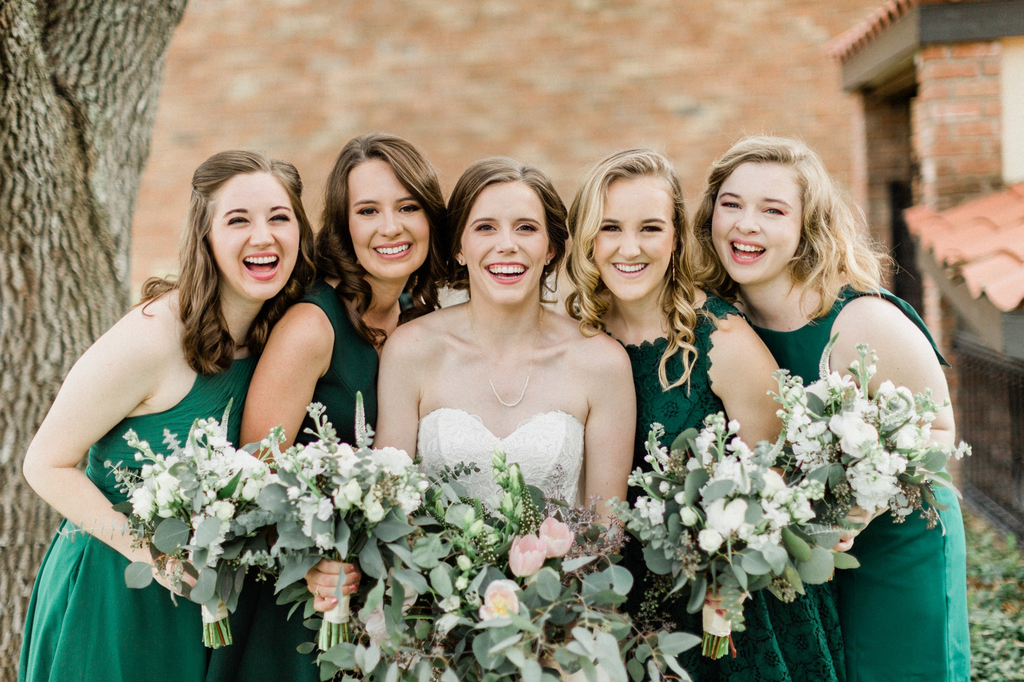 bride and bridesmaid, bhldn dress, emerald green bridesmaid, poison ivy floral design, spring wedding photo, the gallery, houston, texas, dreamy elk photography and design