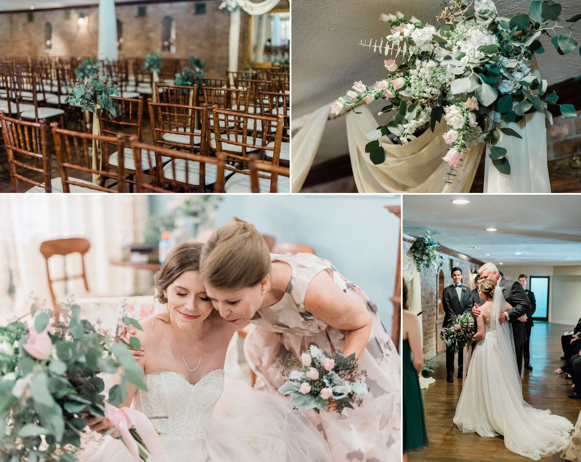 indoor wedding ceremony, poison ivy floral design, spring wedding photo, the gallery, houston, texas, dreamy elk photography and design