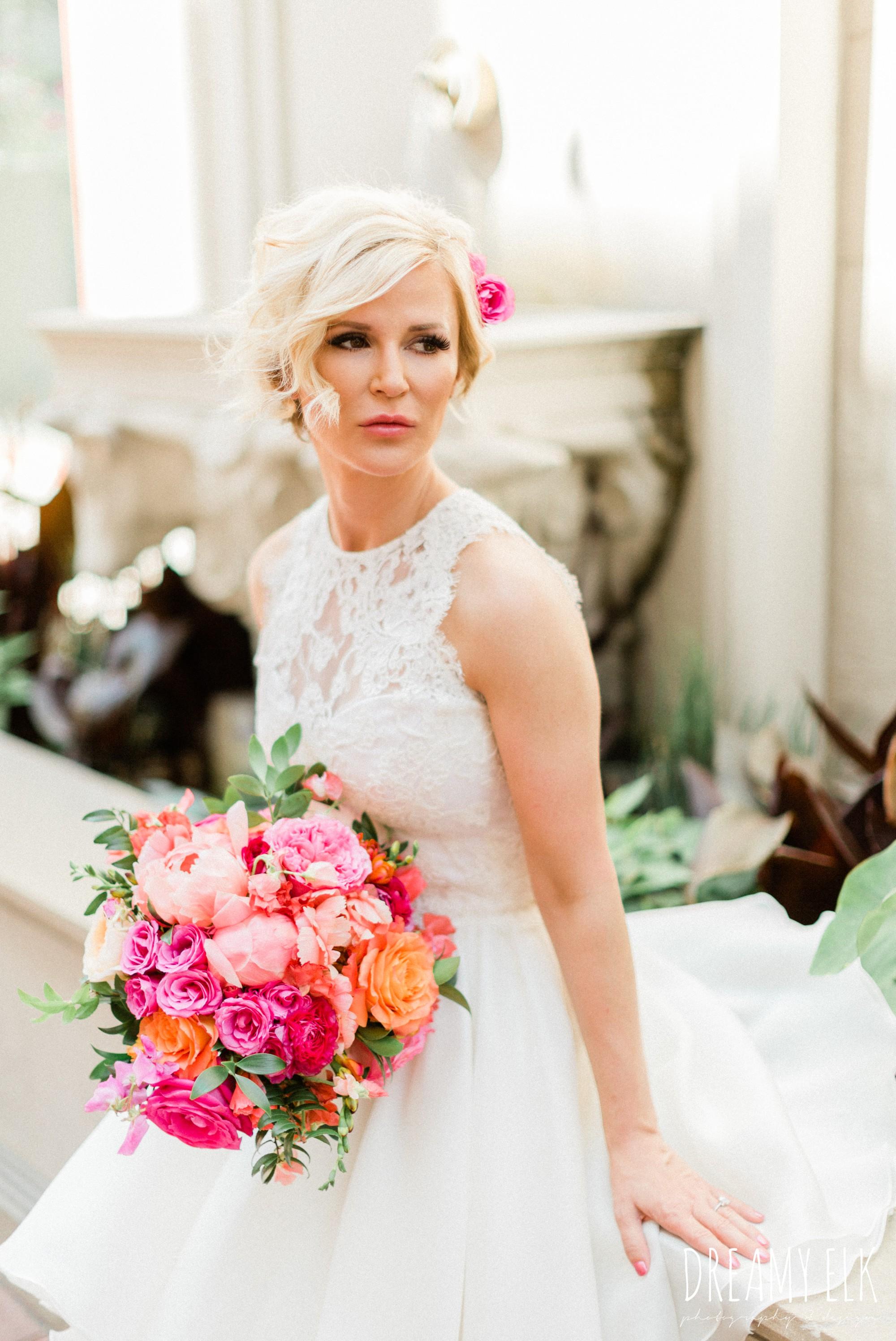 bride, michael faircloth, short wedding dress, spring colorful pink orange wedding photo, fort worth, texas, dreamy elk photography and design, jen rios weddings, kate foley designs