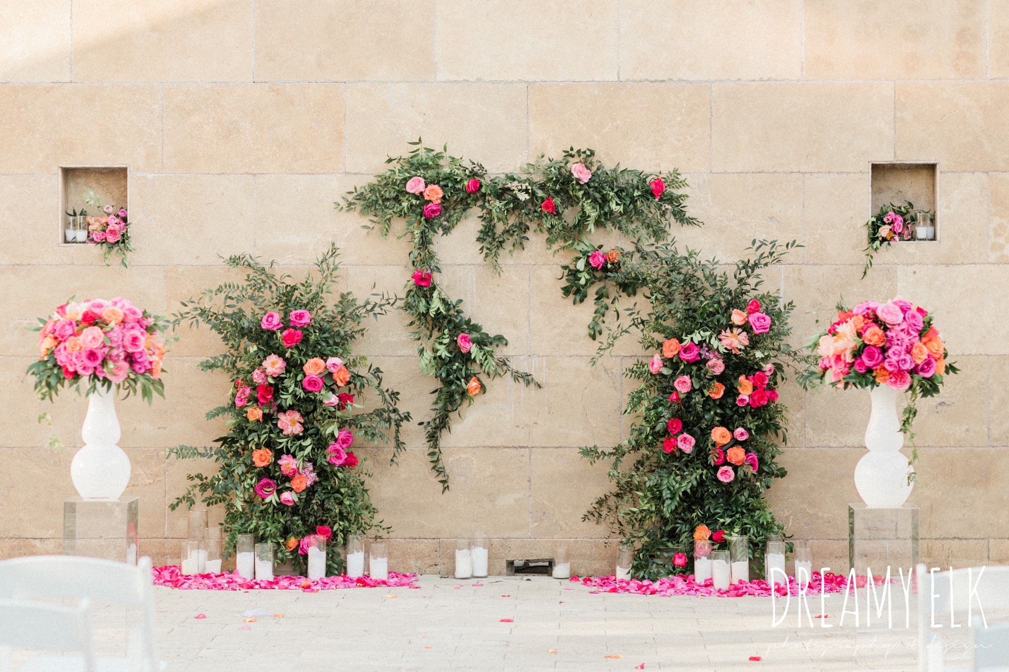 floral arch, spring colorful pink orange wedding photo, fort worth, texas, dreamy elk photography and design, jen rios weddings, kate foley designs