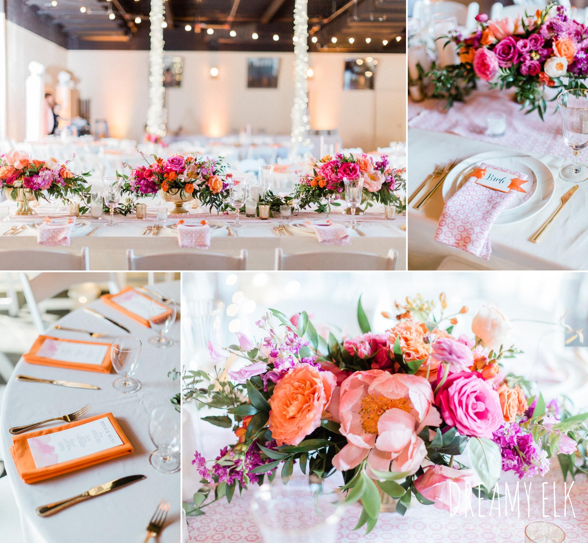 reception decor, spring colorful pink orange wedding photo, fort worth, texas, dreamy elk photography and design, jen rios weddings, kate foley designs
