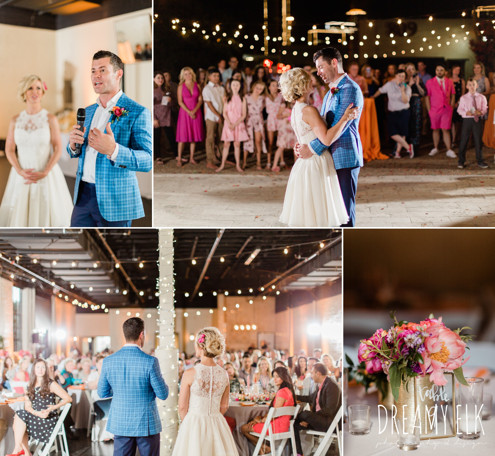 outdoor reception, spring colorful pink orange wedding photo, fort worth, texas, dreamy elk photography and design, jen rios weddings, le force dj