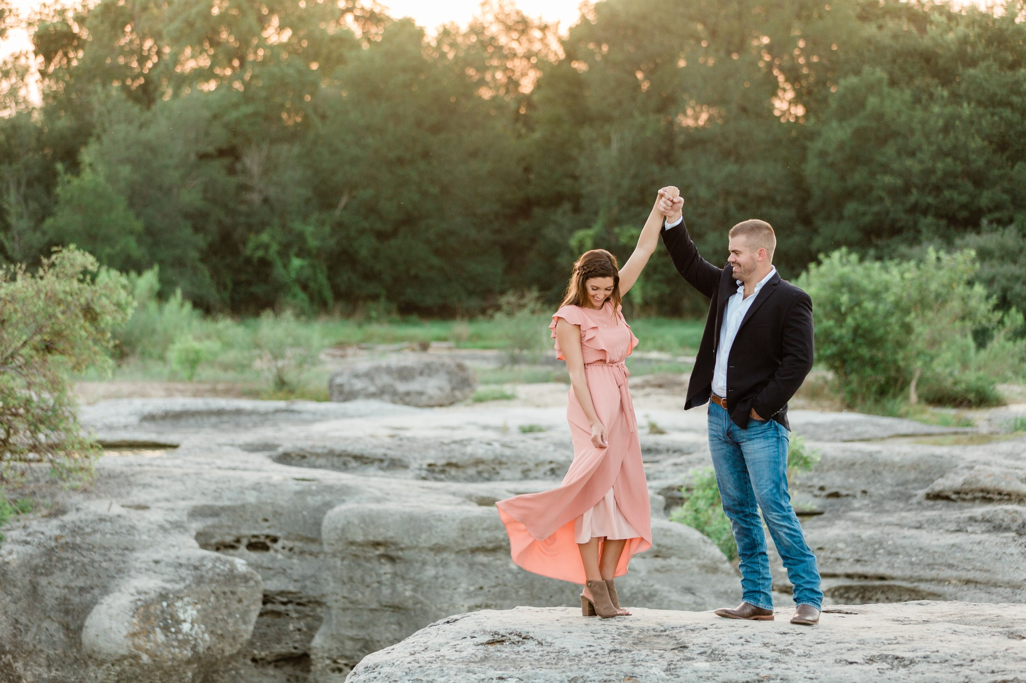 mckinney falls state park austin texas engagement photo