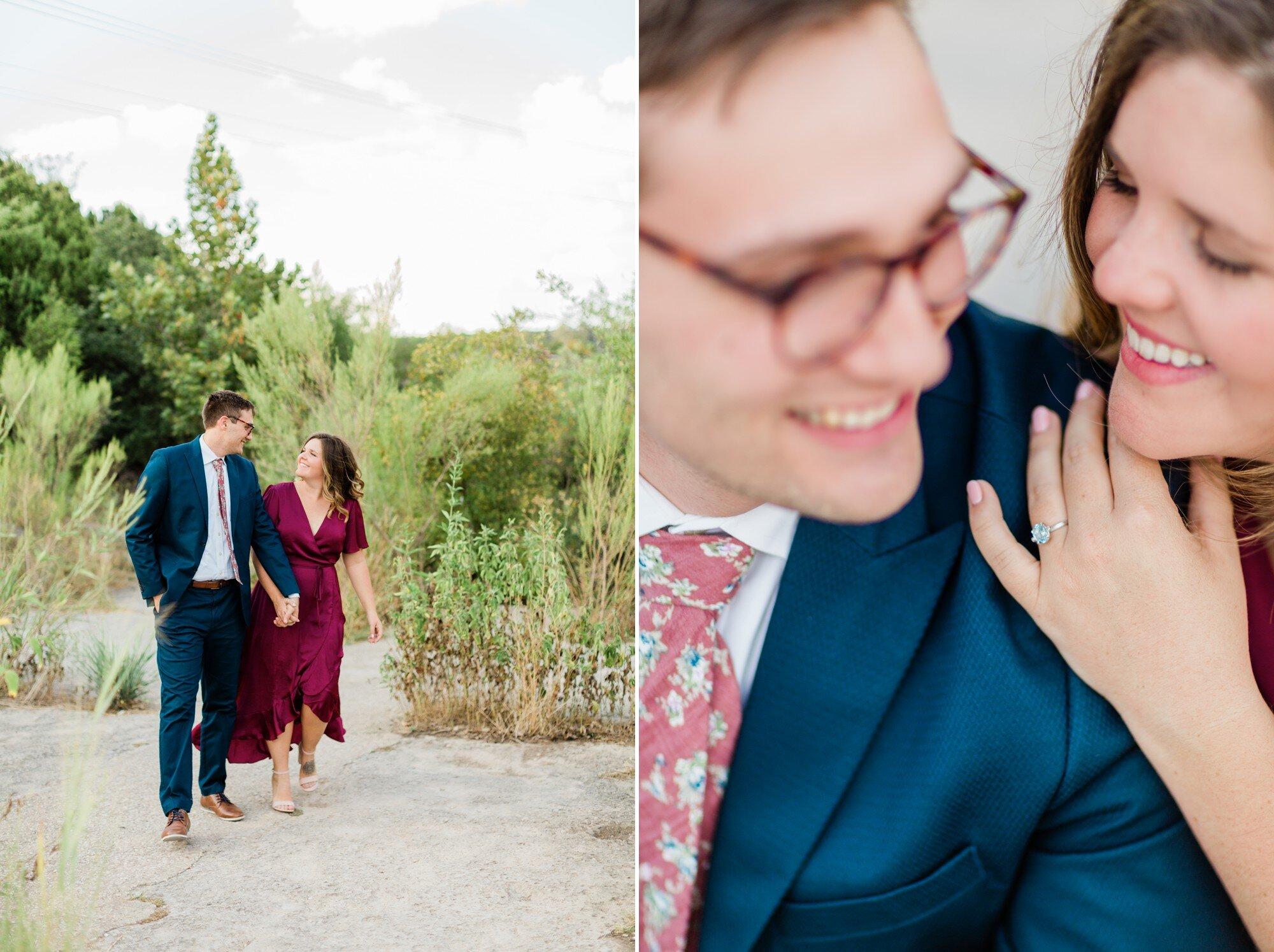 bull creek park austin texas engagement photo, burgundy dress and suit, aquamarine engagement ring