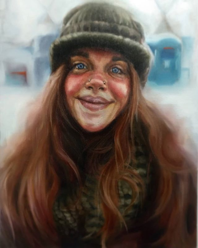 """""""Warmth"""" one of my latest paintings currently on display at @bbamgallery  30x40"""" oil on linen 2018 This portrait is one of the many amazing souls we meet in Nov. 2016 fighting to protect Native Land rights at Standing Rock Reservation in North Dakota. Our amazing time volunteering in the Sacred Stone camp provided us with the most stunning and vivid array of faces that we can't wait to share through our art. This gentle warrior is the first of many to come.  This portrait, along with the rest of my exhibition """"Before the sound"""" is running at @bbamgallery until dec. 31st.  I hope you come by 🖤  #portraiture #warrior #protector #oilportrait #art #artshow #exhibition #painter #laceyjane #montrealart #femaleartist #femaleart #stadingrock #istandwithstandingrocksioux #nodapl #womenpaintingwomen #laceyjaneart #514art #artthisweek #portrait #arttoday #portraitrealism #painting #oilpainting #gallery #classical #contemporaryart #contemporaryartist #portraitpainting"""