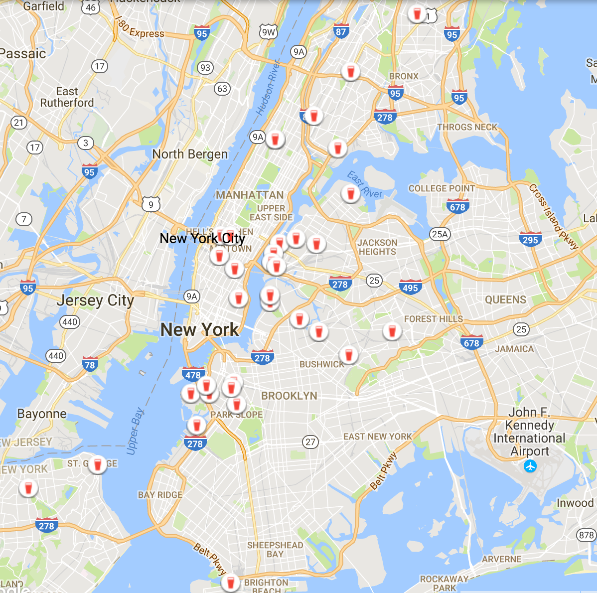 Current breweries in the five boroughs of New York City.