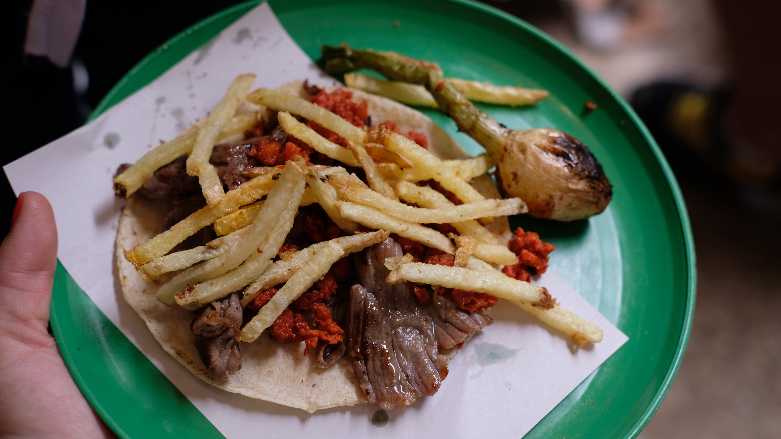 Campechano taco with fries!