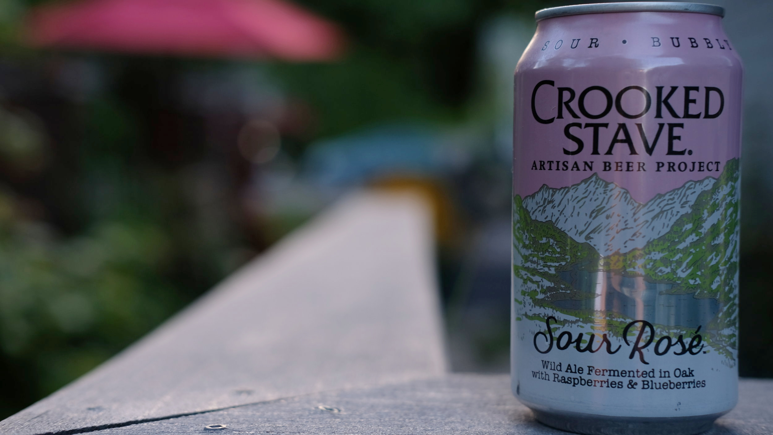 Crooked Stave's Sour Rosé is a mixed culture wild ale fermented in oak with raspberries and blueberries.