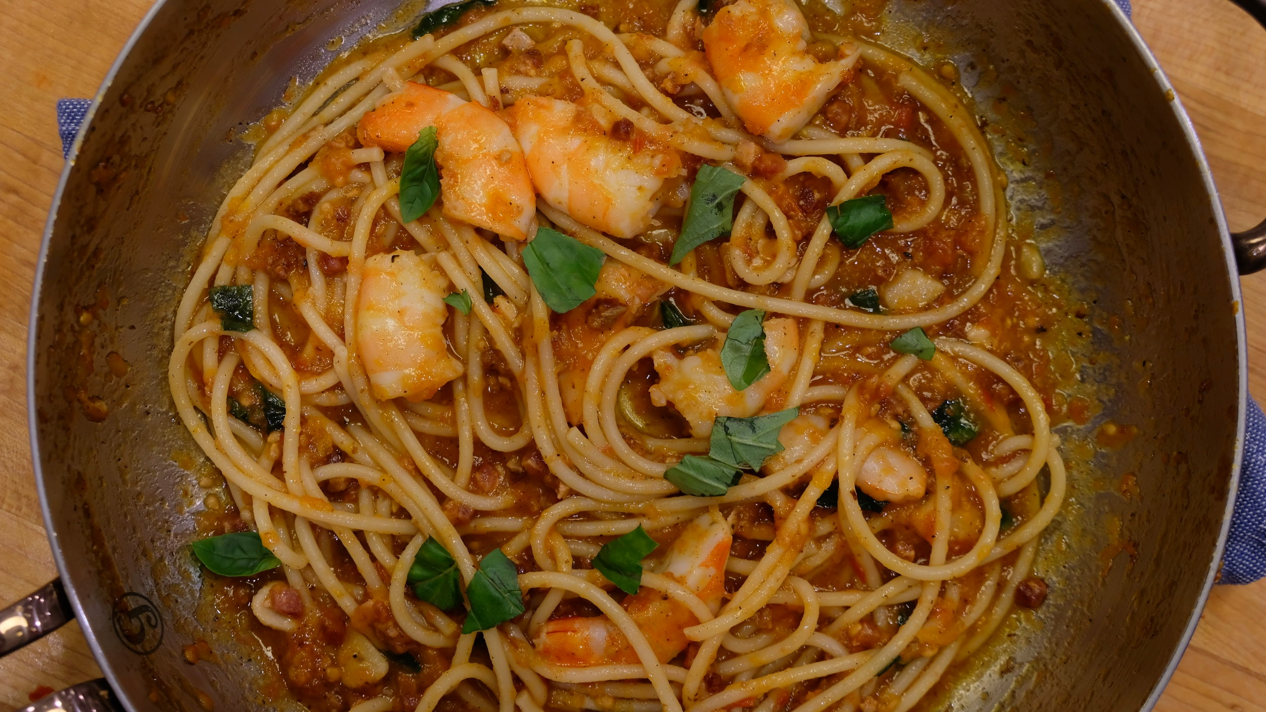 bucatini with tomato-pancetta sauce and shrimp