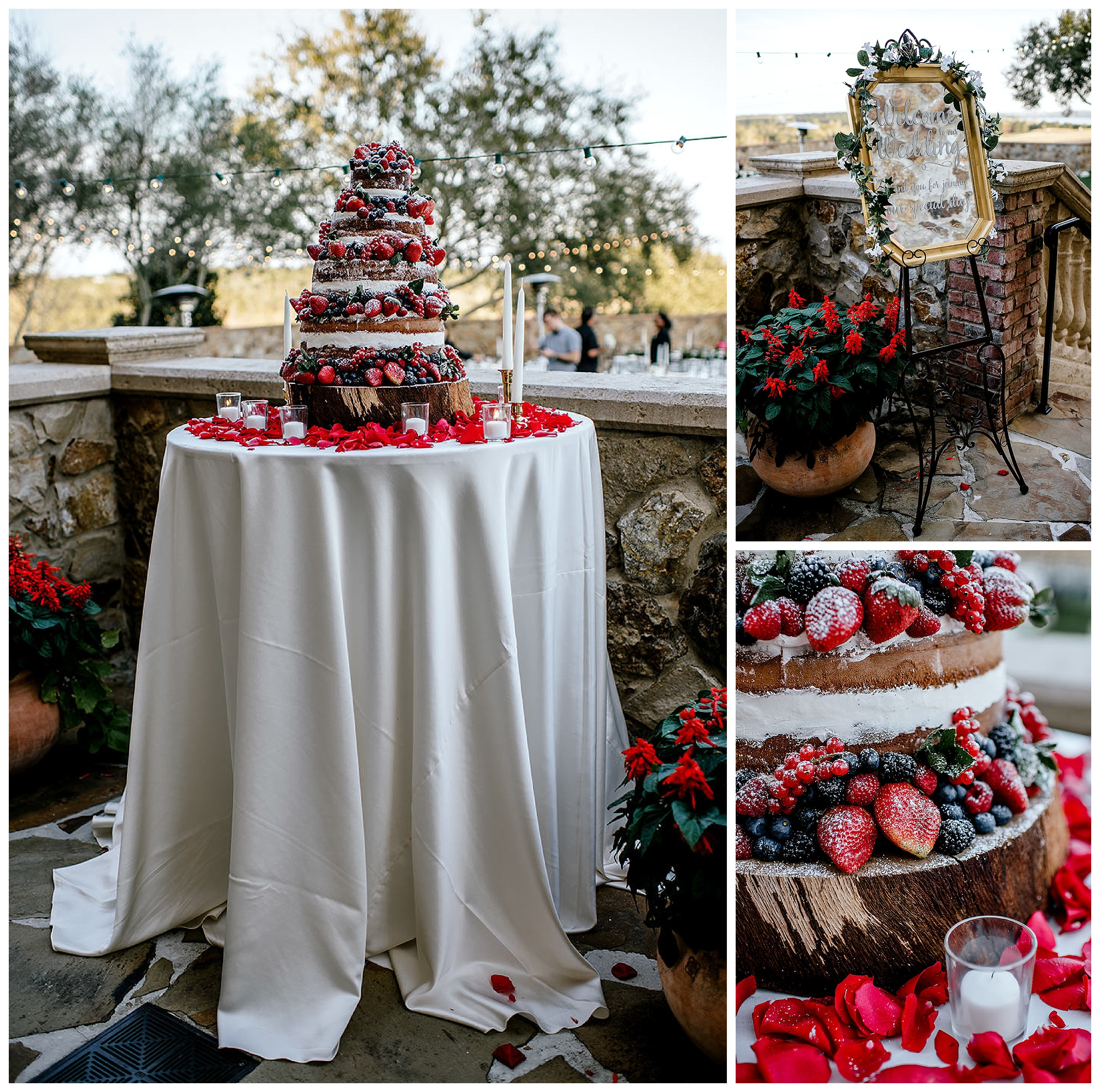 Beautiful naked wedding cake filled with fruit, with red rose petals all around it