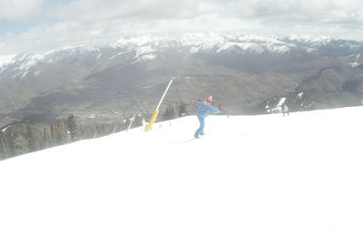 melissa on the lean on the 137 on the top of Baldy (Sun Valley