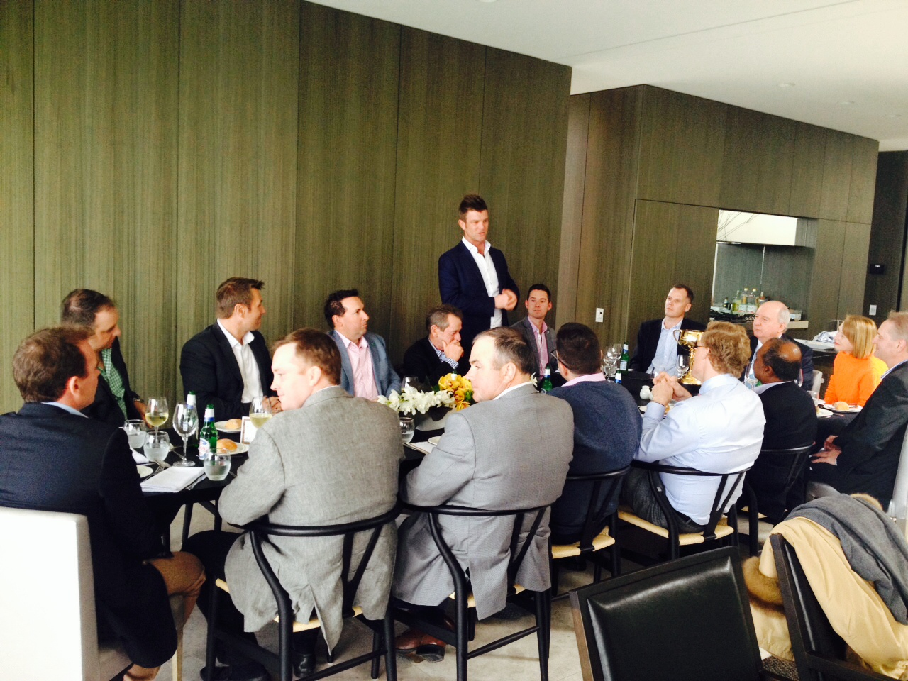 Blue Sky Bloodstock's Julian Blaxland addressing the guest at the recent Spring Lunch.