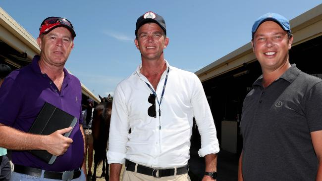 Bloodstock agents Guy Mulcaster, Julian Blaxland and James Harron are on the lookout for racing's next star at the Magic Millions sales on the Gold Coast. Picture: Scott Fletcher