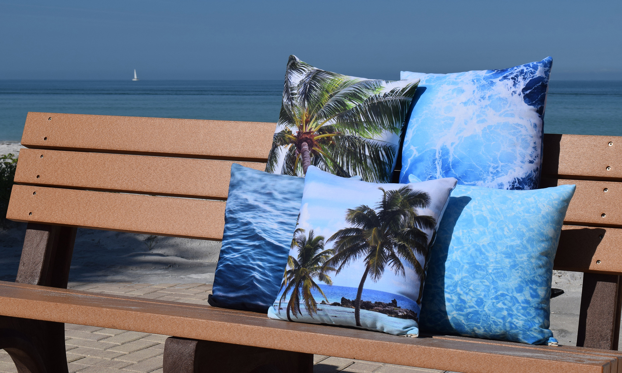 Five Throw Pillows on Beach Bench - Nature | City Co.