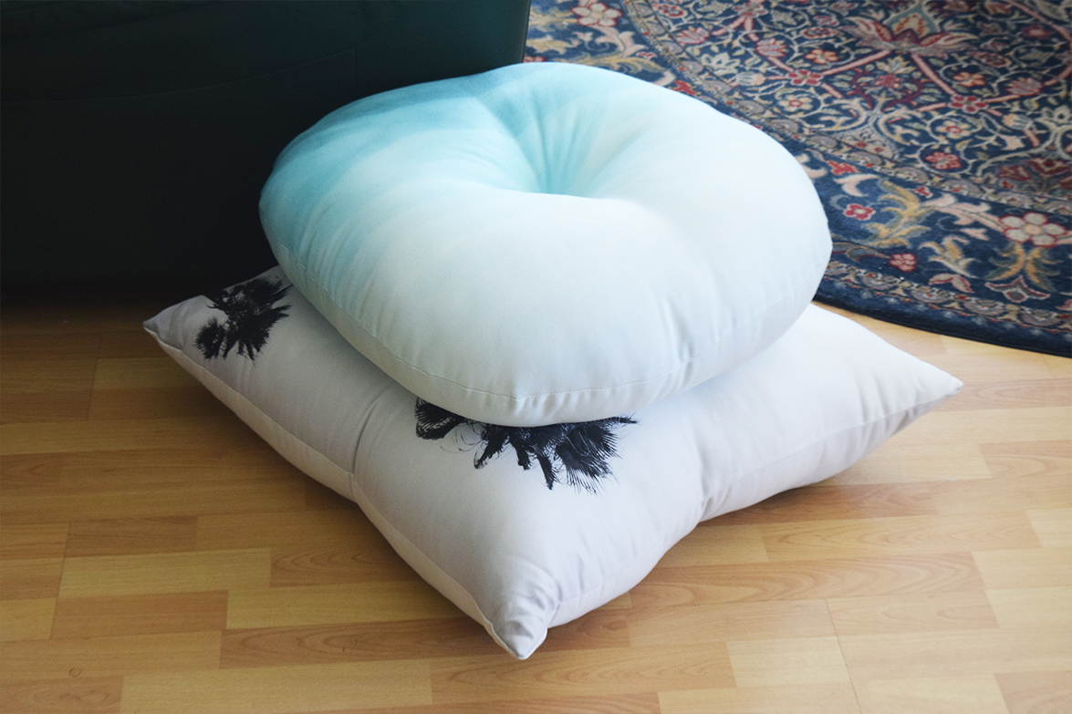 Tufted Floor Pillows Stacked