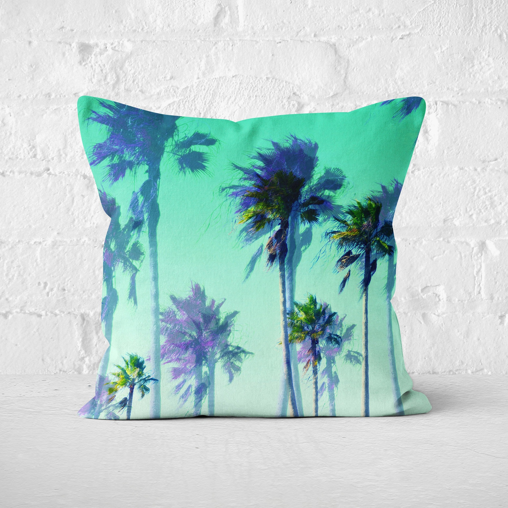 Jungle Green Palms - Square Pillow White Brick Background.jpg