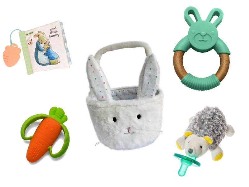 Soft book ,  Carrot teether ,  bunny basket ,  bunny teether  and  hedgehog wubbanub .