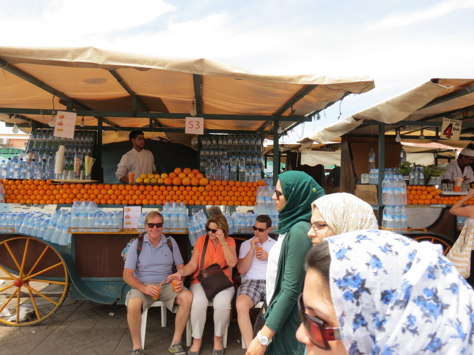 Sampling fresh OJ in Jemaa el Fna, Marrakech