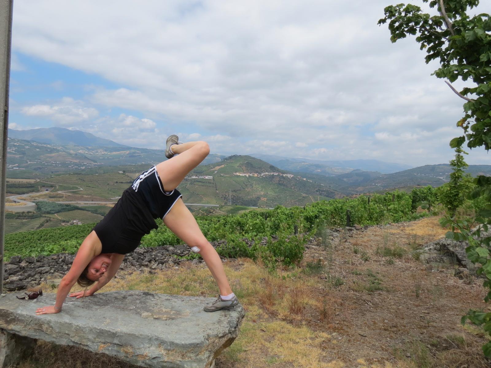 Morning yoga in the vineyards of Quinta do Vallado, Portugal