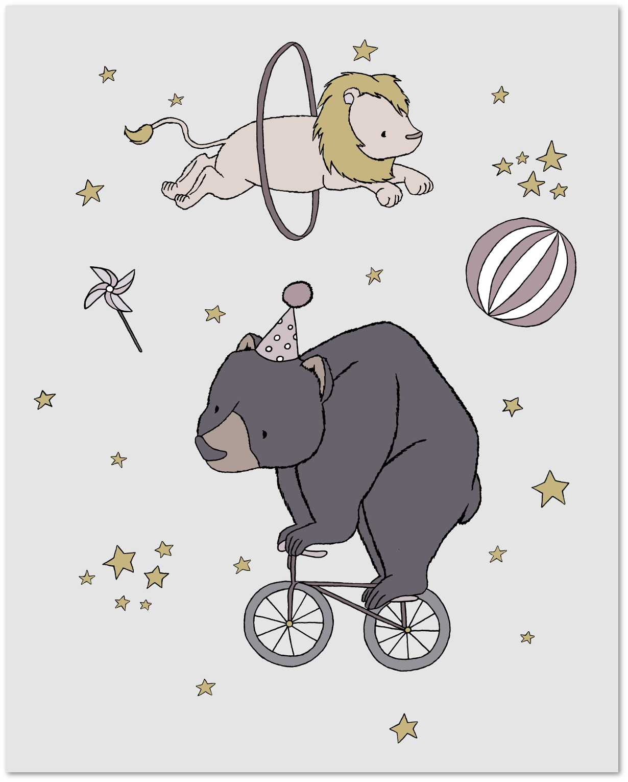 Circus Dreams - Bear and Lion - Circus Nursery Art