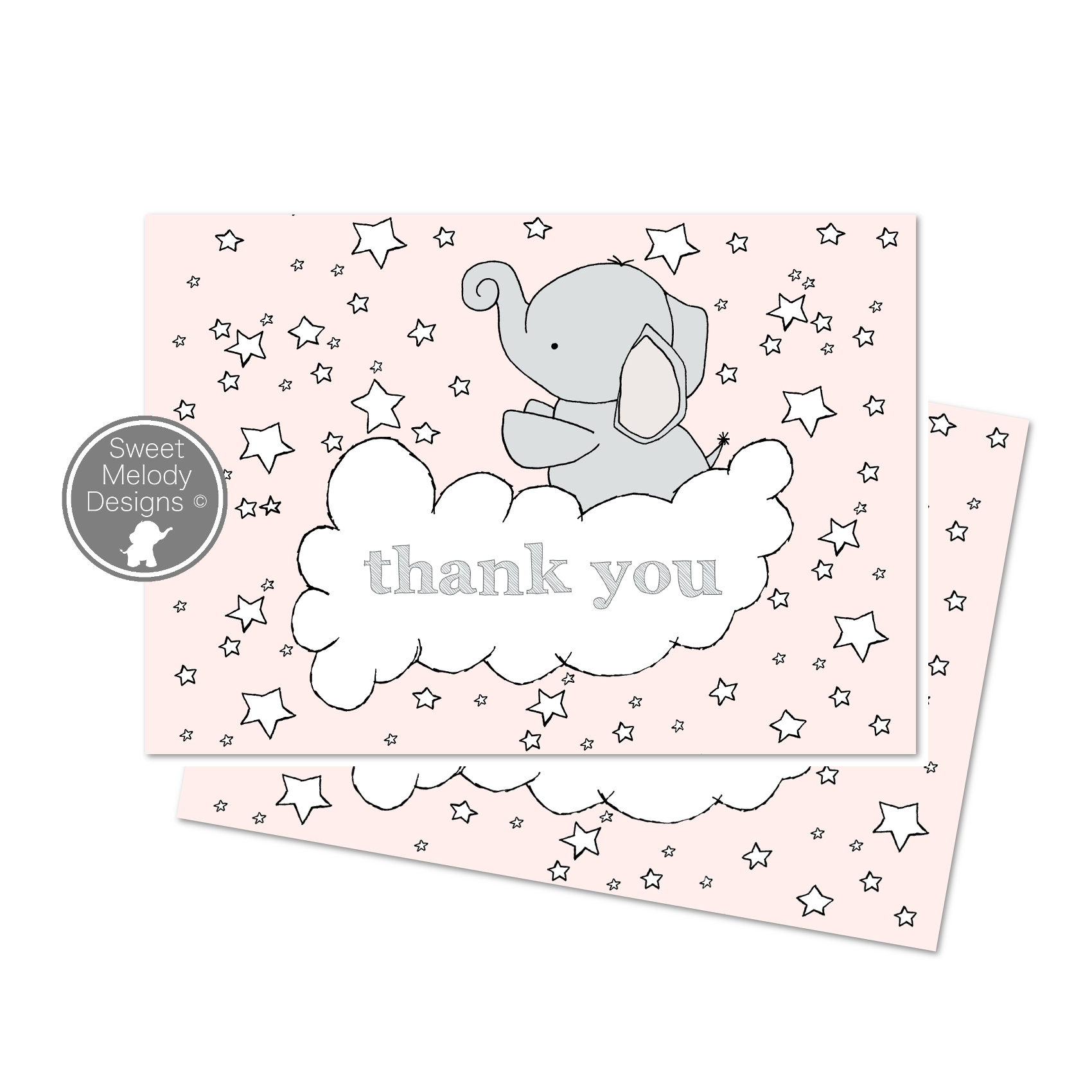 thank you card elephant stars