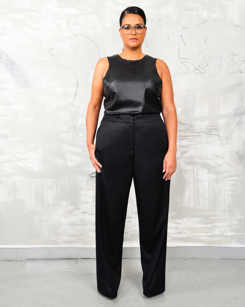 Try this look   - Wide leg pant with a leather tank – outfit available   @  PLY Apparel