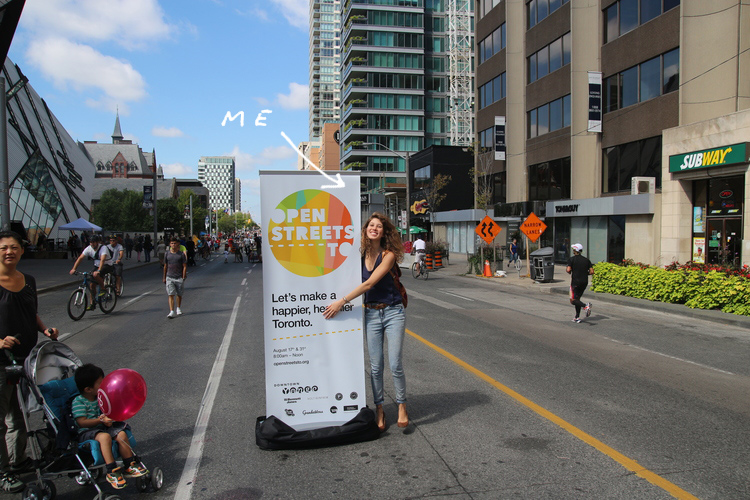 The logo at the first ever Open Streets TO event, at Bloor and University