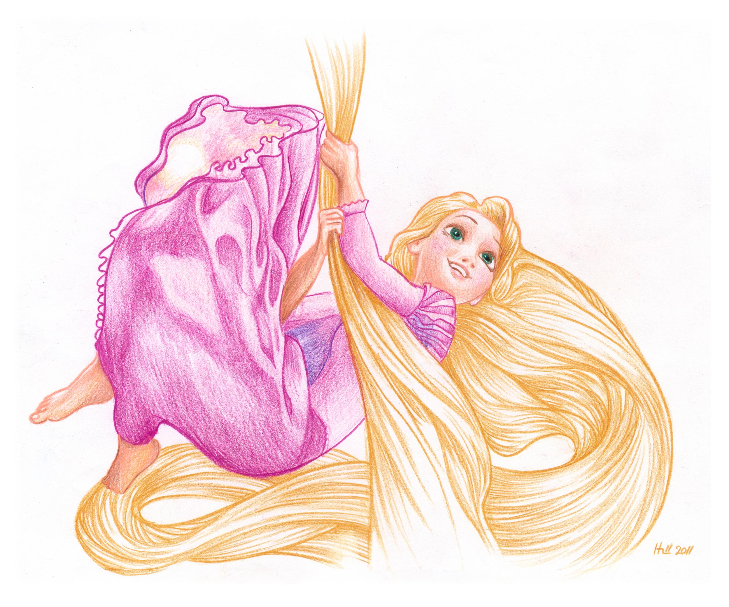 Rapunzel.  Prismacolor pencil on paper 2011.