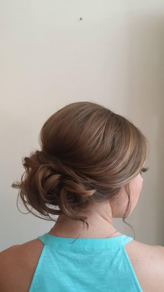 Low loose bun updo by Beyond Beautiful by Heather, Savannah, GA