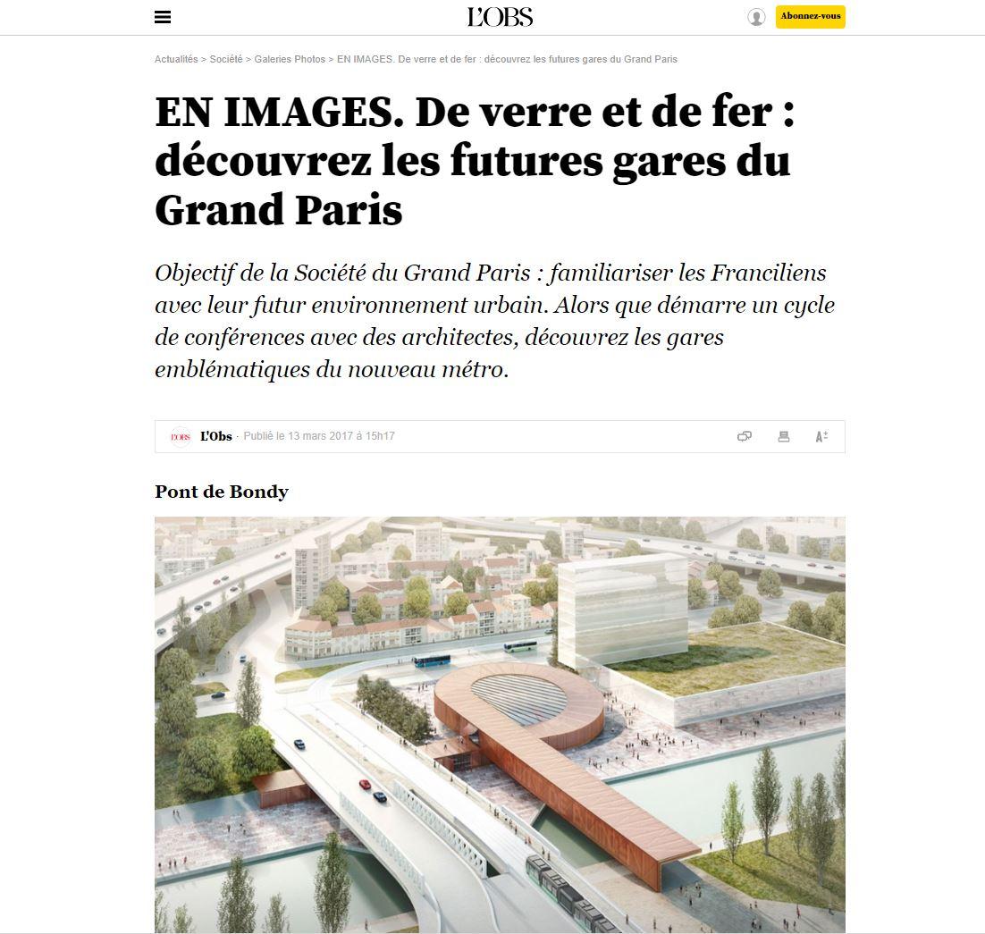 L'OBS | March   De verre et de fer : découvrez les futures gares du Grand Paris