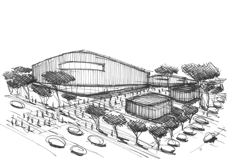 Croquis Green Center Chaumont - Silvio d'Ascia Architecture