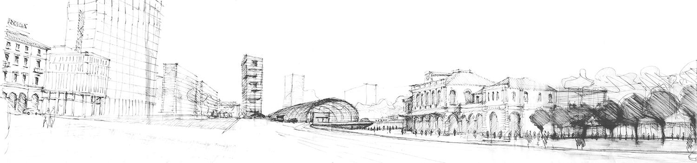 Silvio d'Ascia Architecture - Croquis Porta Susa TGV