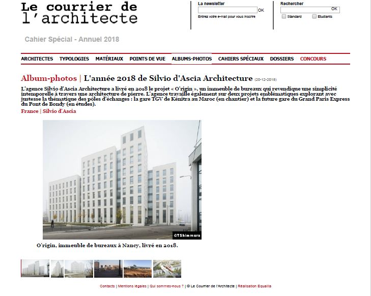 Le Courrier de l'Architecte | December   The Year 2018 of Silvio d'Ascia Architecture