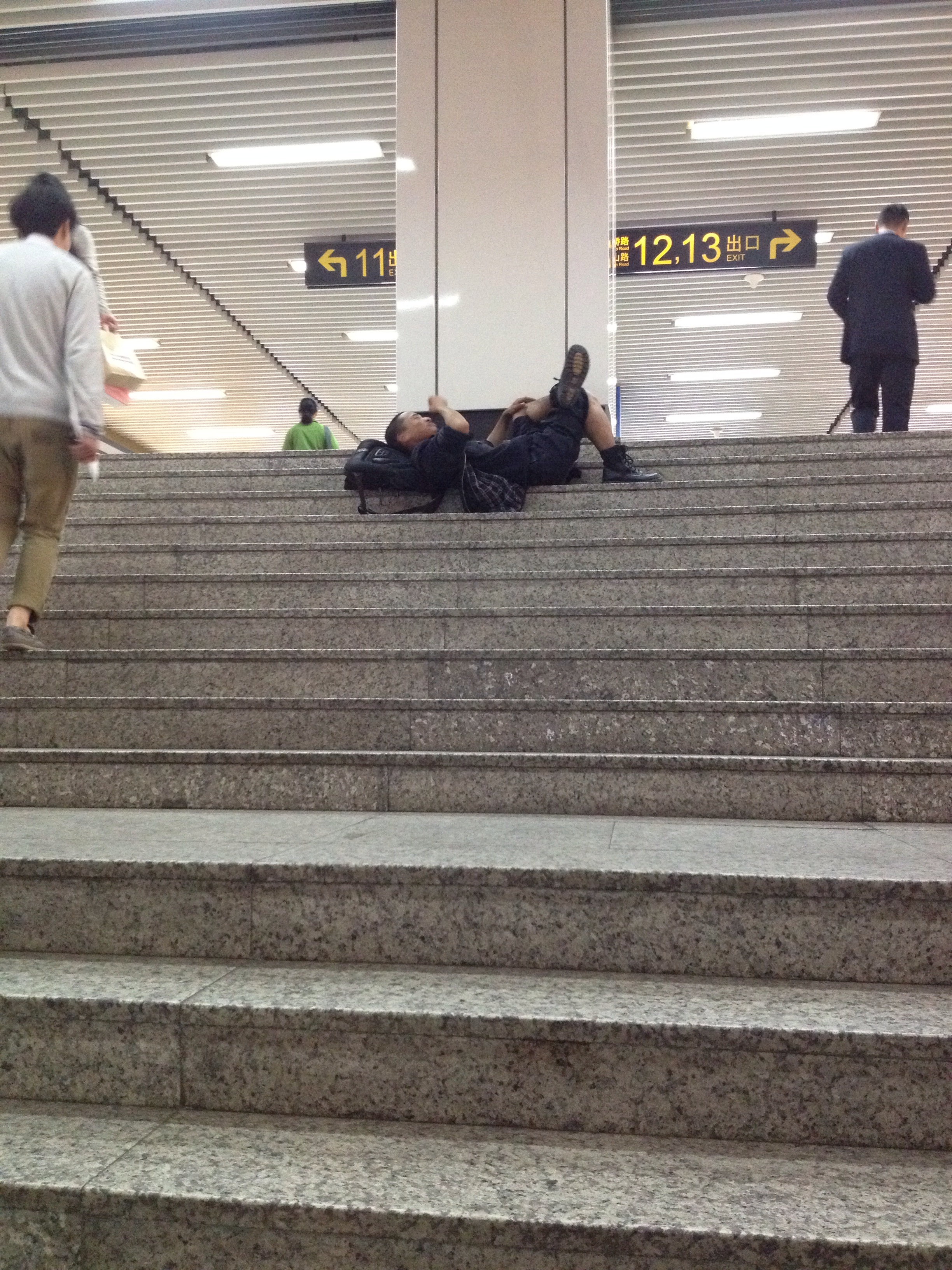 I guess if you are tired enough Xujiahui metro station is a great place to nap