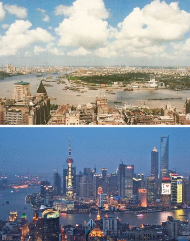 Shanghai in 1990 and again in 2010 two years before I arrived for the first time. Picture from Weburbanist.