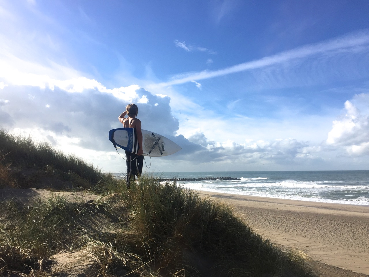 Leon at Agger Beach before a 2 hour surf in the beautiful Danish OCTOBER weather