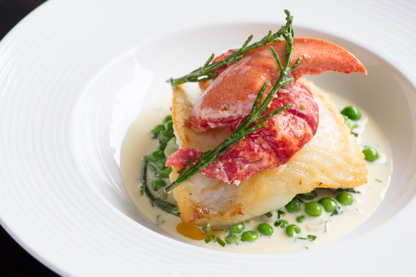 Halibut with Lobster, Samphire & Petit Pois