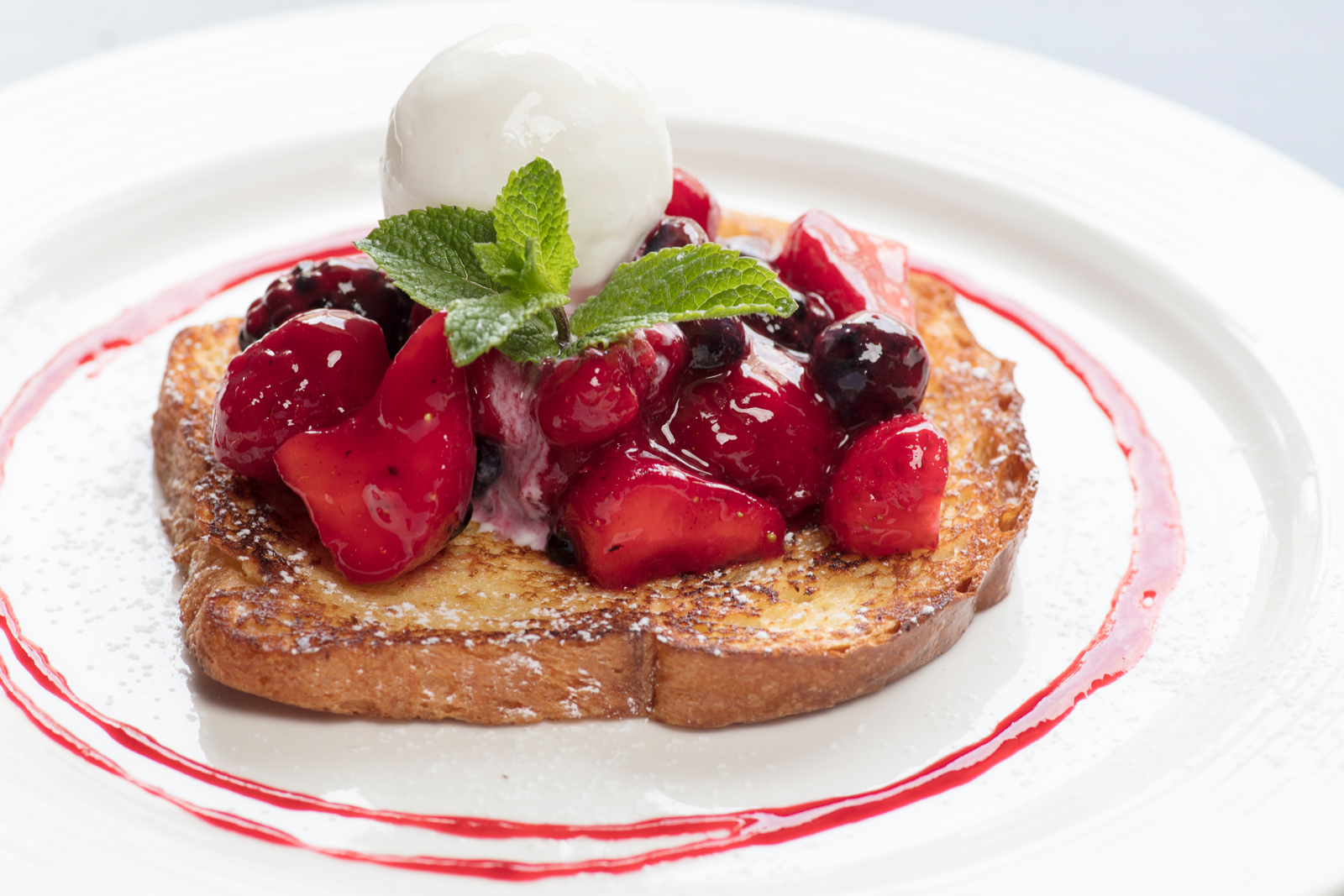 Pain Perdu, Macerated Strawberries & Home Made Vanilla Ice Cream