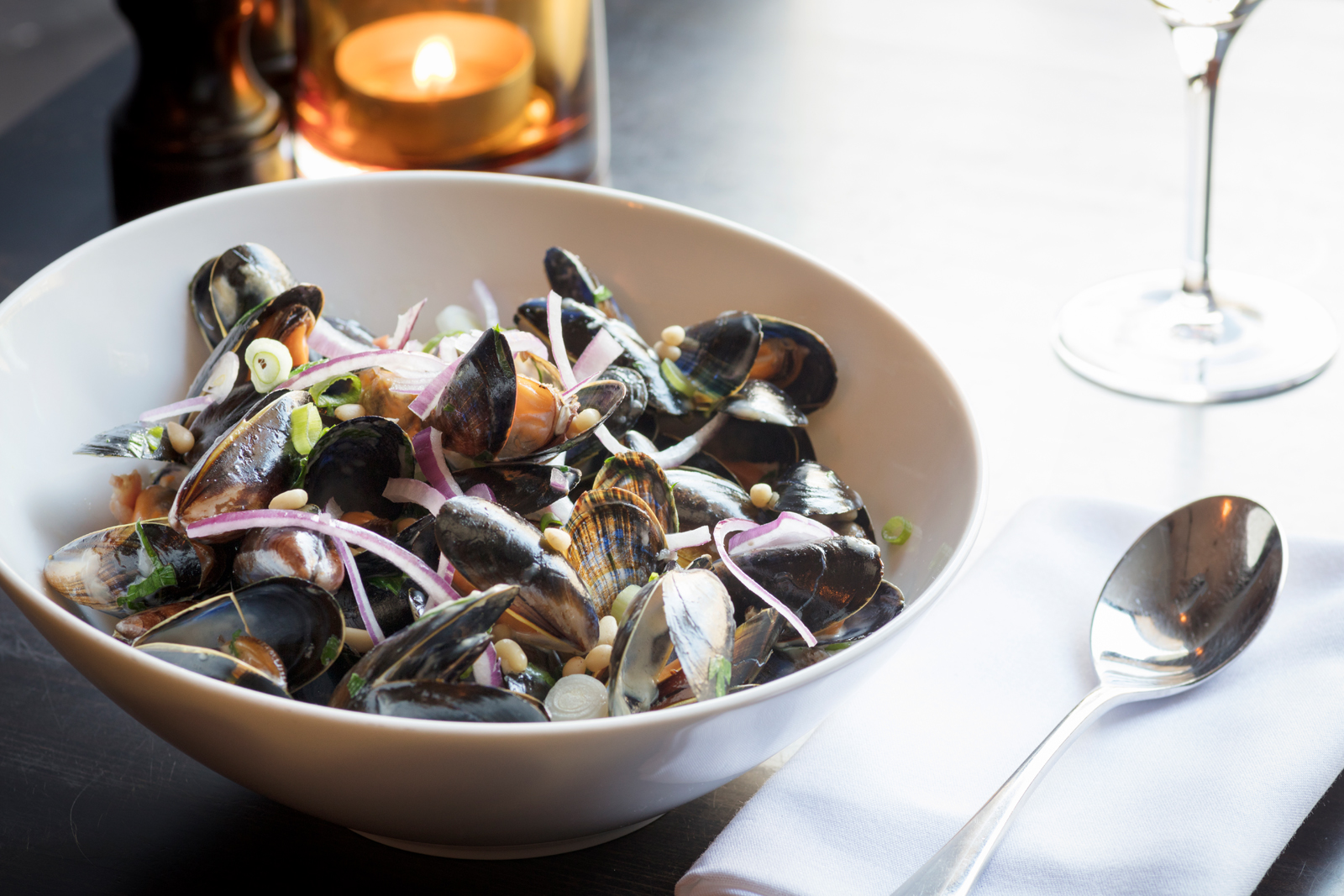 Shetland Mussels with Basil, Bacon, Pinenuts & Parmesan Cream