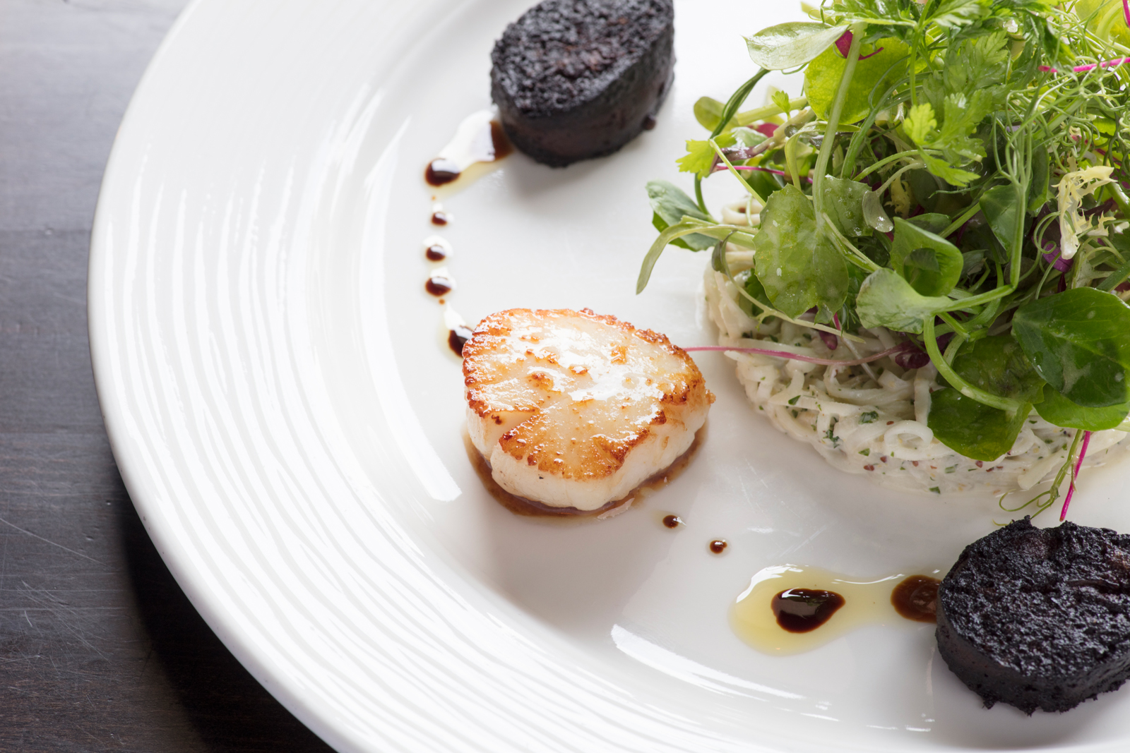 Hand Dived Scottish Scallops with Thiol Black Pudding & Celeriac Remoulade
