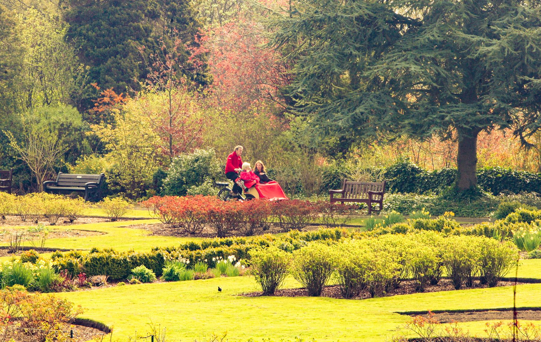 Enjoying a trishaw ride through the Laird's Garden of Pittencrieff Park