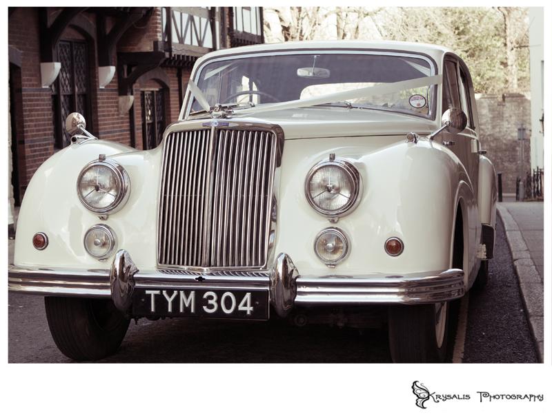 Vintage wedding car in Arundel
