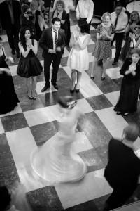 Bride twirling on dance floor