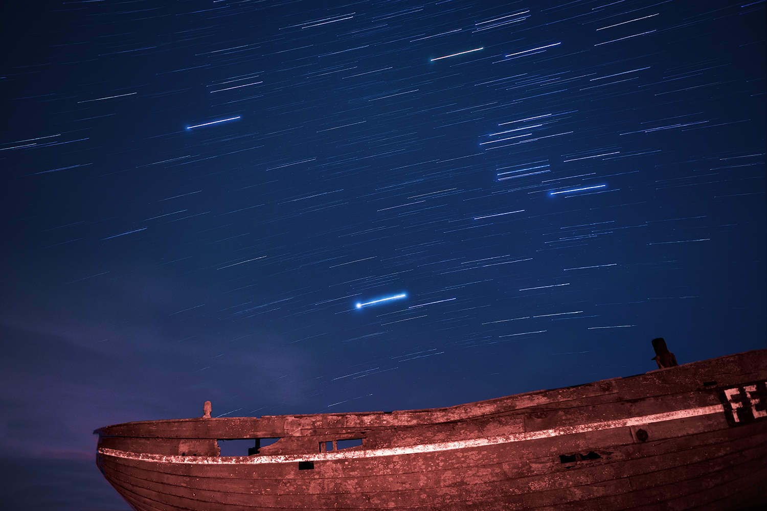 Dungeness Star Trails (40x 30 seconds exposures) - facing away from the North Star